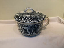 An Antique Dale Hall Pottery Co. Flow Blue Chamber Pot with Lid ca. 1892