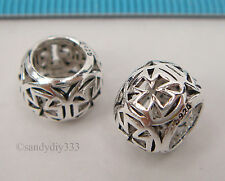 1x STERLING SILVER FILIGREE CROSS EUROPEAN BRACELET CHARM SPACER BEAD #2293