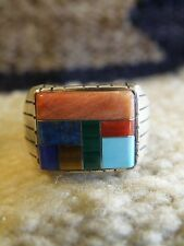 MULTI STONE INLAY MENS RING  SIZE 11.5 STERLING SILVER ZUNI 11 gm.Ray Jack