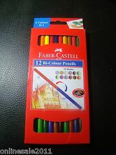 12 Faber Castell Bi Colour Pencils 24 Shades 2 Color In1 Gold & Silver Free Ship