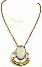 """Lucky Brand Rock Crystal Horn Pendant Necklace Two Tone Metal 26-28"""" NWT $79"""