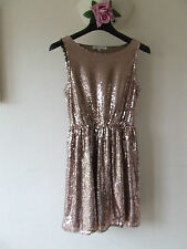 B5 GLAMOROUS SEQUIN DRESS SIZE 10 UK ROSE GOLD SEQUINS FULLY LINED PULL ON STYLE