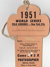 1951 World Series Ticket Pass Joe DiMaggio Last HR New York Yankees/Mantle 1st