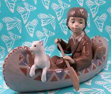 Lladro # 6640 ~ LITTLE EXPLORER ~ Boy in Canoe W/Dog  MINT   BUY 1 GET 1 50% OFF
