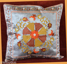 India Silk Embroidery Hand Made Gray Pillow Cover from Craft Options!