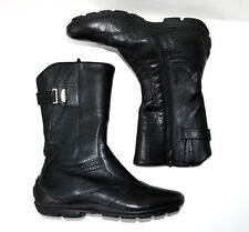GEOX Respira Italy Black Genuine Leather Ankle Boots Side Zipper Wedge Heel 38 8
