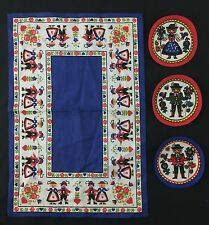 Vintage Red White Blue Table Scarf & 3 Cloth Coasters Austria or Germany Disney