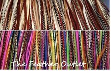 Lot 100 Feather Hair Extensions Bulk Wholesale Grizzly Natural Real Rainbow NB