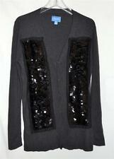 Simply Vera Wang Gray Cardigan Cotton & Rayon Sweater with Black Sequins Sz M
