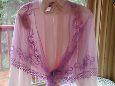 PRETTY BEADED LAVENDER PURPLE NET SHAWL WRAP PROM FORMAL / RED HAT SOCIETY NEW !