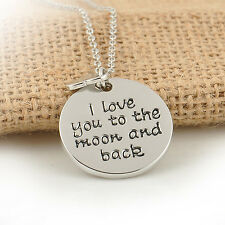 "Wholesale Lover&Family""I LOVE YOU TO THE MOON AND BACK ""Necklace Pendant Silver"