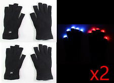 2 Pairs of 7 Mode LED Light Flashing Rave Black White Finger Gloves USA Seller