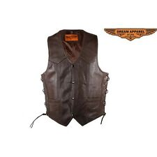 Mens Brown Leather Vest With Buttoned Front Closure New Size 44