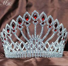 "Floral Pageant Tiara Round Crown 5"" Red Rhinestone Wedding Headband Hair Jewelry"