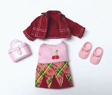 Barbie Sister Kelly doll clothes Cherry Fruitastic Dress Jacket Purse Shoes New