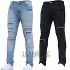 Mens Super Skinny Stretch Punk Retro Gothic Trousers Pants Zip & Rip Jeans