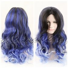 Women's Long Wavy Ombre Black to Blue Wig Heat Resistant Hair Wig Synthetic Hair