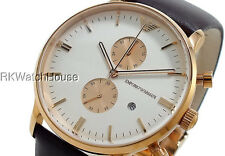 EMPORIO ARMANI BROWN LEATHER ROSE GOLD CHRONOGRAPH WATCH AR0398
