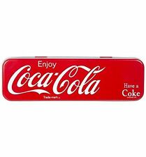 Coca Cola Pencil Tin Metal Red School Kid Child Gift Case Cover Pen Retro Box