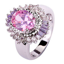 Oval Cut Pink White Topaz & Purple Gemstone Silver Cocktail Party Ring Size 8