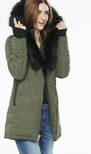 NEW EXPRESS $198 OLIVE GREEN EXTREME FAUX FUR DOWN PUFFER COAT JACKET SZ M
