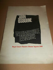 """JOHN OSBORNE """" INADMISSIBLE EVIDENCE """" ROYAL COURT THEATRE 1964 RARE & REVIEW"""