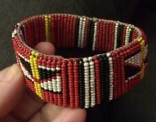 Maasai Masai Bead Beaded Bracelet Bangle Zulu African Tribal Red Beadwork Boho
