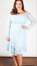 Plus Size Powder Blue Lace Dress Size 26 Made In UK