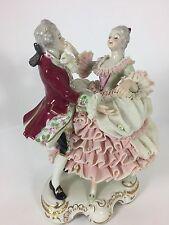MZ Irish Dresden Figurine PINK & WHITE LACE DANCING COUPLE VIENNA WALTZ
