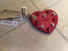 NWT Coach Red/Gold Embellished Leather Heart Charm/Key Chain #65180
