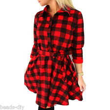 New Women's Classic Plaid Check Bodycon Long Sleeve Casual Grid Shirt Mini Dress