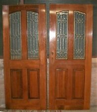 "Vintage Pair of French Entry Doors with Leaded Glass Panels. Exterior 64"" x 80"""
