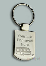 Engraved CARAVAN design Free Personalised Metal Keyring Boxed