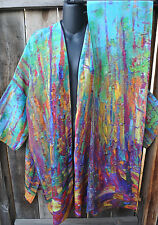 DILEMMA HAND PAINTED KLIMT ARTIST INSPIRED SILK ART TO WEAR KIMONO/SCARF, OS+