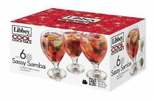 Libbey 6-Piece Cool Cocktails Sassy Samba Sangria/Beer Glass Set, Clear - NEW -