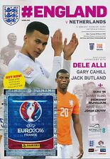 ENGLAND v Netherlands Holland (Friendly) 2016 includes FREE Panini stickers pack