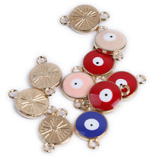 10x Mixed Color Enamel Gold Plated Alloy Evil Eye Pendants Connector Findings J