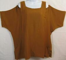 TIENDA HO~Dk Curry~SOFT WOVEN SUSTI~Cut-out Neckline~Jodi Top~Pockets~OS(M-2X?)