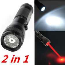 2 in 1 Waterproof 7- LED Torch Flashlight Camping Light Lamp + Red Laser Pointer
