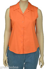 NEW Silhouettes Womans Orange V-Neck Sleeveless Button-up Top Size 3X