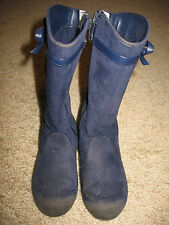 Little Girls size 11 Gymboree Zip-up Boots Navy Blue Cloth Dressy Casual