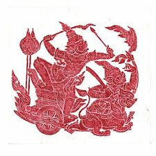 """Thai Temple Rubbing - Red - Story of Ramakien - 24"""" x 24"""" -               2423RD"""