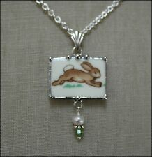 "ROYAL DOULTON BUNNY RABBIT BUNNYKINS RECTANGLE ""BROKEN CHINA JEWELRY"" NECKLACE"