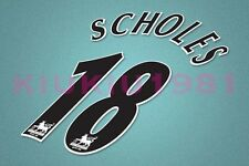Manchester United Scholes #18 PREMIER LEAGUE 97-06 Black Name/Number Set
