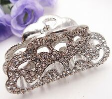 Elegant Large Bridal Durable Alloy Metal White Silver Crystal Hair Claws Clips