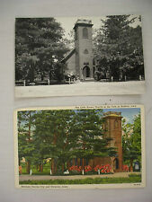 PAIR VINTAGE POSTCARDS RPPC & LINEN LITTLE BROWN CHURCH IN THE VALE NASHUA IOWA