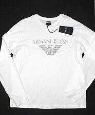 ARMANI JEANS Men's Long Sleeve Logo Script T-Shirt Tee Shirt 3XL White NWT