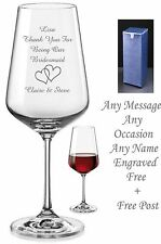 Personalised Engraved Crystal Wine Glass Bridesmaid Wedding, Birthday xmas Gifts