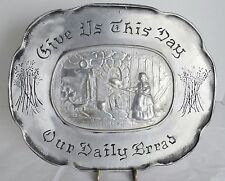 VTG Duracast Pewter Tray Colonial Bread Serving Platter Wall Hanging Plaque USA