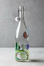 NIB Anthropologie Winged Migration Carafe Butterfly Floral Glass Bottle Molly